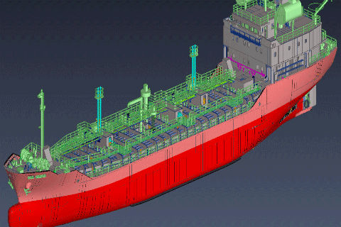 3D design of naphtalene tanker designed by tsuneishi technical services philippines